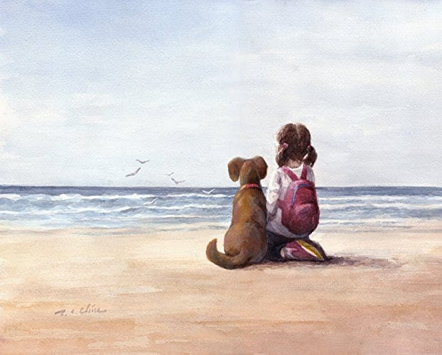 A Girl and Her Dog by Pine Brook Studio