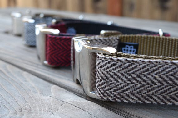 Brown Tweed Herringbone Dog Collar