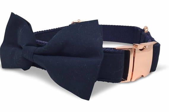 Deep Blue Formal Dog Collar and Bowtie